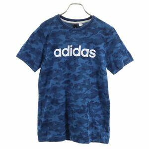 アディダス カモフラ柄 トレーニングウェア 青系 adidas スポーツ 半袖 Tシャツ 迷彩 総柄 メンズ 210902 メール便可