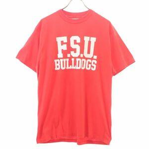 ヘインズ 80~90s USA製 ブルドッグプリント 半袖 Tシャツ XL 赤 Hanes メンズ 200423 メール便可
