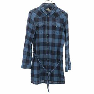 ディーゼル チェック柄 長袖 シャツ S 青×黒 DIESEL ダブルガーゼ ウエストリボン チュニック レディース 210919