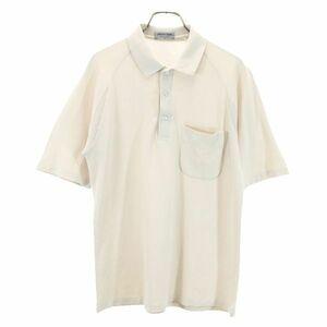 マンシングウェア ワンポイント ゴルフポロシャツ M ベージュ系 Munsing wear ロゴ刺繍 鹿の子 メンズ 210830 メール便可