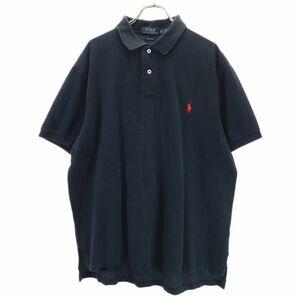 ポロラルフローレン ワンポイント刺繍 半袖 ポロシャツ XL 黒 POLO RALPH LAUREN 鹿の子地 メンズ 210810