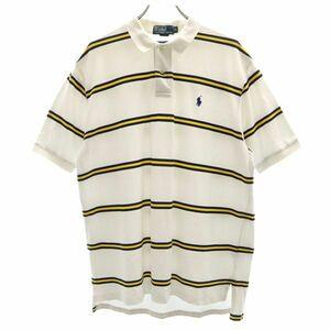ポロバイラルフローレン ワンポイント刺繍 ボーダー 半袖 ポロシャツ XL ホワイト系 Polo by Ralph Lauren 鹿の子 メンズ 210828