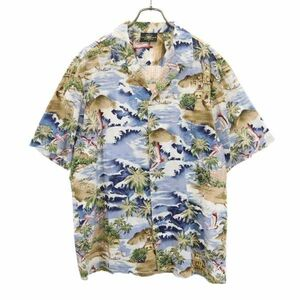 ロイヤルクリエーションズ 開襟 オープンカラー アロハシャツ XL ROYAL CREATIONS ハワイ製 ポケット柄合わせ メンズ 210629 メール便可