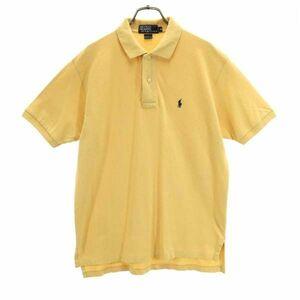 ポロラルフローレン ワンポイント刺繍 半袖 ポロシャツ M 黄 POLO RALPH LAUREN 鹿の子 メンズ 210812 メール便可