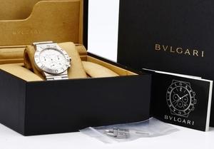 BVLGARI ブルガリ ディアゴノ CH35S クロノグラフ 腕時計 クロノグラフ メンズ 白文字盤 正規品 稼働品