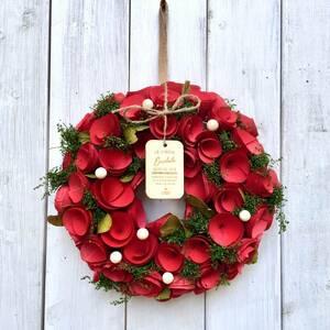 パールリース ギフト プレゼント オールシーズン フラワーリース ドライフラワー レッド 赤 インテリア 玄関ドア 縁起物 運気アップ 幸運