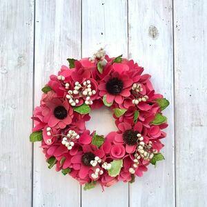 かわいいガーベラリース ピンク オールシーズン ギフト プレゼント フラワーリース ドライフラワー インテリア 玄関ドア 縁起物 運気 幸運