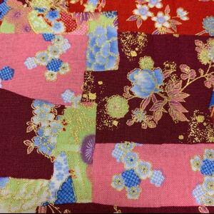布 生地 和柄 花柄 赤 紫 ピンク 金縁 綿