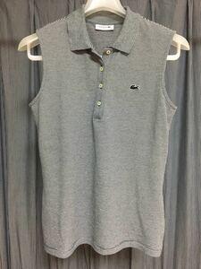 LACOSTE スリムフィット 細ボーダー ストレッチ ポロシャツ (ノースリーブ) ネイビー サイズ40-XL