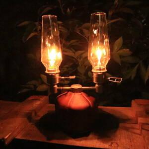 《匿名送料無料》ガスランタン×2 & ガス2分岐アダプタ 木製収納ケース ランプライト 燭台 卓上ランタン ルミエール キャンドルランタン
