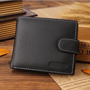 ■JINBAOLAI■ シークレットポケット付き財布 メンズ二つ折り(黒色)