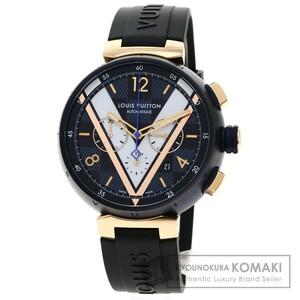 LOUIS VUITTON ルイヴィトン QA090Z タンブール ダミエ コバルト 腕時計 ステンレススチール ラバー メンズ 中古