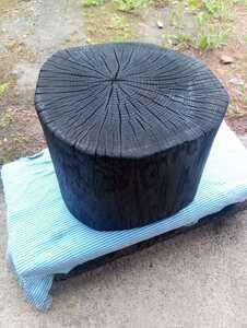 樫 薪割り台 焼き加工 バトニング オイルステイン加工可 4