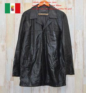 ★イタリア製★本革  良質 レザー コート ジャケットXL(R-3380) メンズ おすすめ