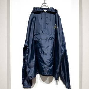 XL~相当 / プルオーバー ジャケット パーカー ポリエステル アノラック カンガルーポケット ネイビー 薄手 アウトドア 鶴 携帯 雨 撥水