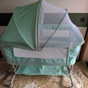 ベビーベッド 添い寝ベッド  揺りかご 蚊帳付き ヘッドアップ 折り畳み、