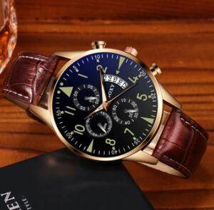 腕時計 メンズ 革バンド アナログ 合金 クォーツ腕時計 男性時計 シンプル ローズゴールド ダイヤル レロジオ masculino D7 AZ0148