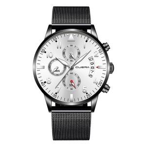 男性 ステンレス鋼 高級 軍事 スポーツ腕時計 メンズファッション カジュアル スリム クォーツ カレンダー A2370