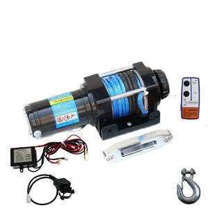 ロープタイプ電動 牽引 ウインチ電動ウインチ 4500LBS(2040kg) DC12V 牽引無線リモコン付 クラッチ機構付 引上げ機 防水