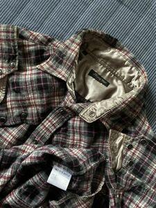 超美品 日本製 Men's Bigi メンズビギ 高品質ウール 羊毛 チェックデザイン ウエスタン 長袖シャツ size2 M相当 MADE in JAPAN