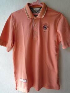 アダバット ゴルフウエア お洒落な半袖ポロシャツ サイズ48 サーモンピンク系 美品