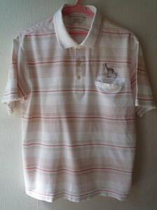 アダバット ゴルフウエア お洒落な半袖ポロシャツ サイズ48 ボーダー柄白系 美品