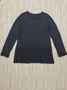 イッセイミヤケ ニット セーター カットソー サイズ2 日本製  ウール100% チュニック // ヨウジヤマモト