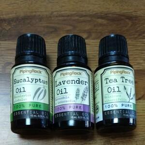 エッセンシャルオイル 3種(ラベンダー、ティートゥリー、ユーカリ) 各15ml 精油 100% pure