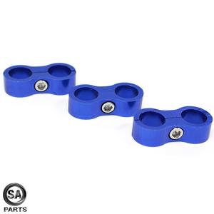 アルミ製 ホースセパレーター ホースクランプ メッシュホース フューエルホース オイルホース 固定 AN8 青/ブルー 3個セット