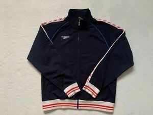 日本製 SPEEDO スピード ジャージ 紺 赤白 トラックジャケット ヴィンテージ 中古 長袖 古着 JASPO Lサイズ