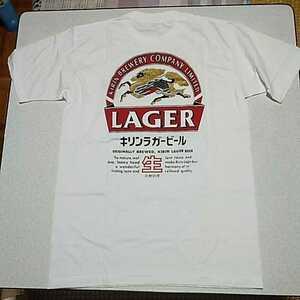 新品 非売品 当時物 キリンビール KIRIN LAGER 麒麟麦酒 キリンラガー バックプリント Tシャツ フリーサイズ およそM程度