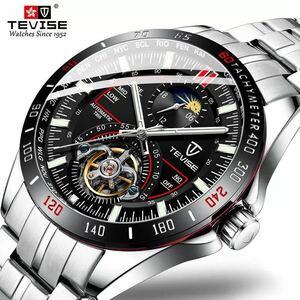 メンズ高級腕時計 44mm 機械式 自動巻 トゥールビヨン ムーンフェイズ表示 紳士 カジュアル 夜光 防水 レッド ◇i960