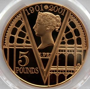 2001 イギリス ヴィクトリア女王 没後100年 5ポンド 金貨 PCGS PR69DCAM