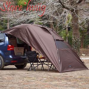 【カーキャンピング】 カーサイドタープ 吸盤フックを使って簡単設置 日除け シェード 車 テント 目隠し スクリーン ダークブラウン