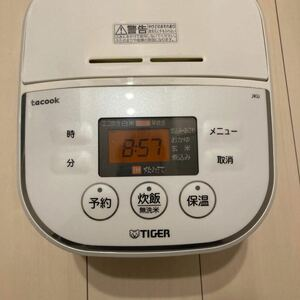 タイガー IH炊飯器 「炊きたて」 tacook 3合 ホワイト JKU-A550-W 中古