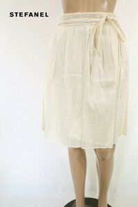 85%OFF 新品 ステファネル STEFANEL スカート 40 ESK395 Mサイズ オフホワイト レディース ギャザースカート インド綿 コットン
