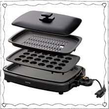 _アイリスオーヤマ ホットプレート たこ焼き 焼肉 平面 プレート 3枚 網焼き 蓋付き ブラック APA-137-B