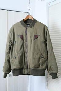 ★WAIPER INC B-15A ARMY AIR FORCES CONMARジップ仕様プリント裏起毛フライトジャケット  古着ユーズド男性メンズ40MLカーキブルゾン緑