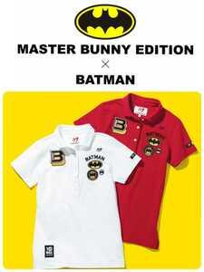 新品国内正規サイズ4 パーリーゲイツ PEARLY GATES マスターバニーエディション バットマン ワッペン日本製高機能ポロシャツ カラー レッド