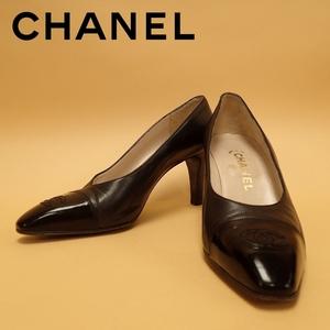 CHANEL シャネル パンプス ココマーク COCO CC シューズ ハイヒール レディース 38 ブラック レザー 靴 ★32729