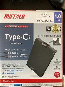 1TB ポータブル バッファロー製 耐衝撃 高速タイプ- Cケーブル+A 暗号化 データ復旧 故障予測みまもり合図、USB 3.2