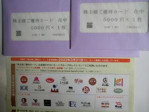 ★すかいらーくグループ 株主優待カード 10000円分 送料込