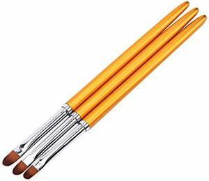 Kingsie ジェルネイルブラシ 3本セット ラウンド UV ジェルブラシ ネイルアート筆 オーバルブラシ ジェルネイル マニ