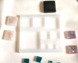 シリコンモールド レジン型 正方形 パーツ カボション レジンモールド UVレジン 2液レジン 半透明 四角 ピアス スクエア