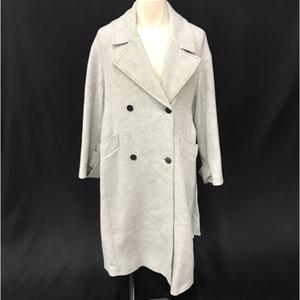 ザラ マンテコ サイズ S ウール 混 レディース 襟付き ロングコート ウエストマーク アウター グレー ZARA × MANTECO