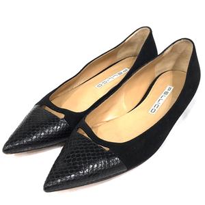 ペリーコ サイズ 39 ポインテッドトゥ ローヒール パンプス ブラック 黒 靴 スエード調 レディース PELLICO