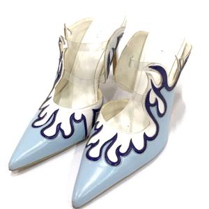 イエロ サイズ L デザイン パンプス レディース 靴 11cm ヒール ハイヒール ファイヤーモチーフ 箱付き 青系 YELLO
