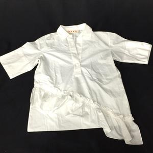 マルニ サイズ36 コットン100% 裾フリル スキッパー 半袖 シャツ レディース トップス アパレル ホワイト 白 MARNI