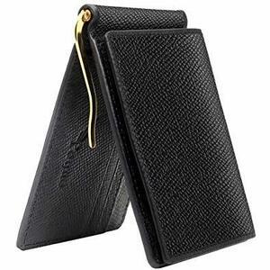 ブラック PEYNE マネークリップ 小銭入れ付き メンズ 財布 - カード 大容量 本革 二つ折り 小銭入れ 薄い財布, カー