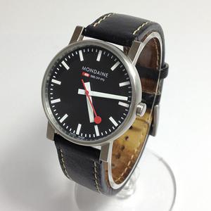 MONDAINE モンディーン 腕時計 アナログ クォーツ 革ベルト ブラック【ベルト劣化・修復跡あり】